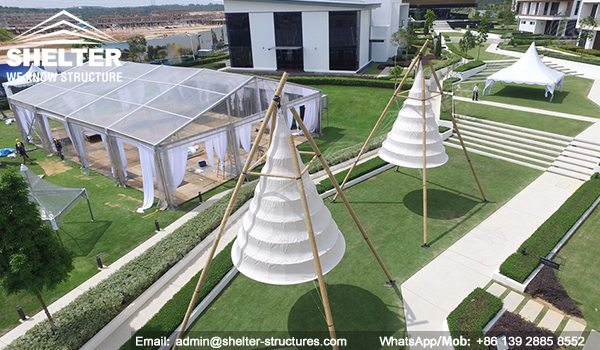 Marquee Set up for Weddings - 15x20m Clear Span Tent for Sale - Transparent Tent - Clear Top Tent Structure - Luxury Tent with Clear Roof and Gables - Shelter Tent (10)
