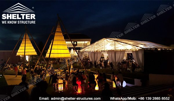Marquee Set up for Weddings - 15x20m Clear Span Tent for Sale - Transparent Tent - Clear Top Tent Structure - Luxury Tent with Clear Roof and Gables - Shelter Tent (12)