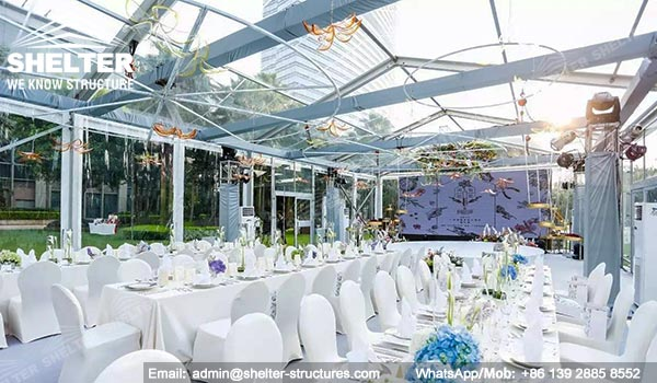 200sqm clear top wedding tent from Shelter - transparent wedding banquet hall in Shangri-la Hotel - tents manufacturer(1)