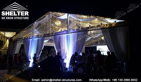 Marquee Set up for Weddings - 15x20m Clear Span Tent for Sale - Transparent Tent - Clear Top Tent Structure - Luxury Tent with Clear Roof and Gables - Shelter Tent (8)